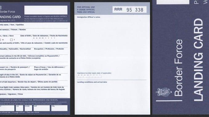 UK international landing cards to be scrapped